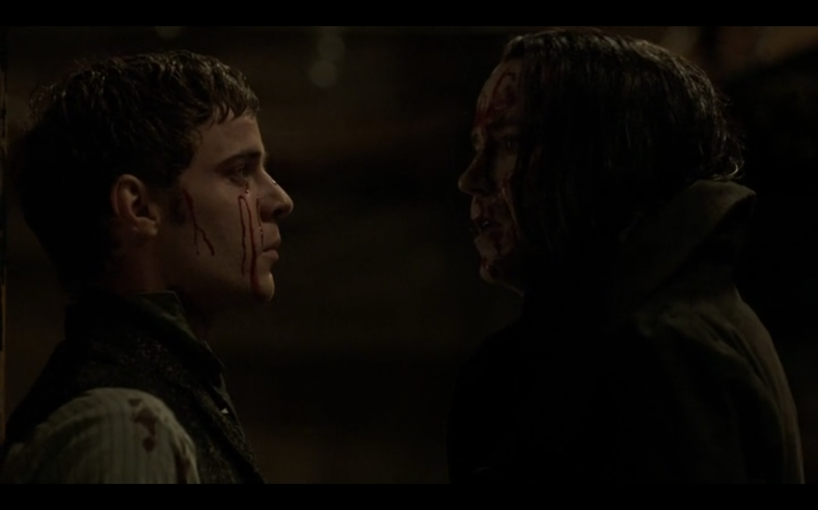 Victor Frankenstein (Harry Treadaway) and his Creature (Rory Kinnear) in Showtime's Penny Dreadful (2014)