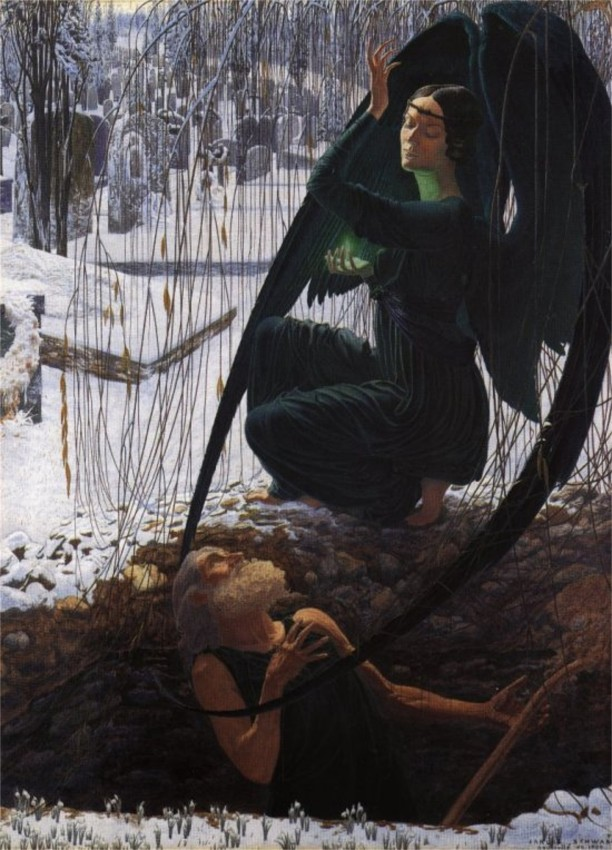The Death of the Gravedigger by Carlos Schwabe