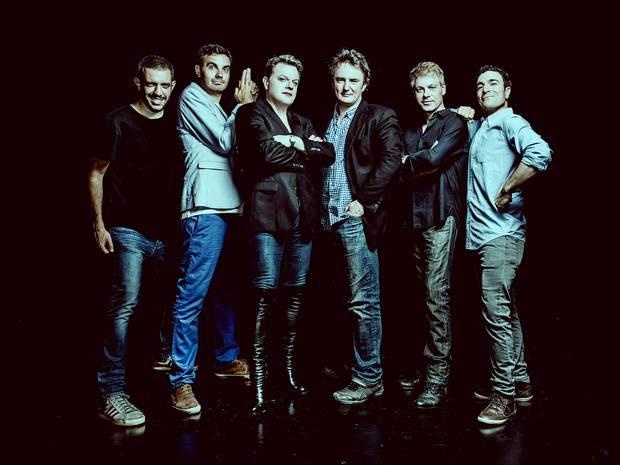 From left: Francesco De Carlo, Igor Meerson, Eddie Izzard, Dylan Moran, Michael Mittermeier and Yacine Belhousse