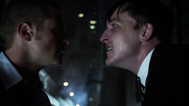 Ben McKenzie as James Gordon and Robin Lord Taylor as Oswald 'Penguin' Cobblepot in Gotham