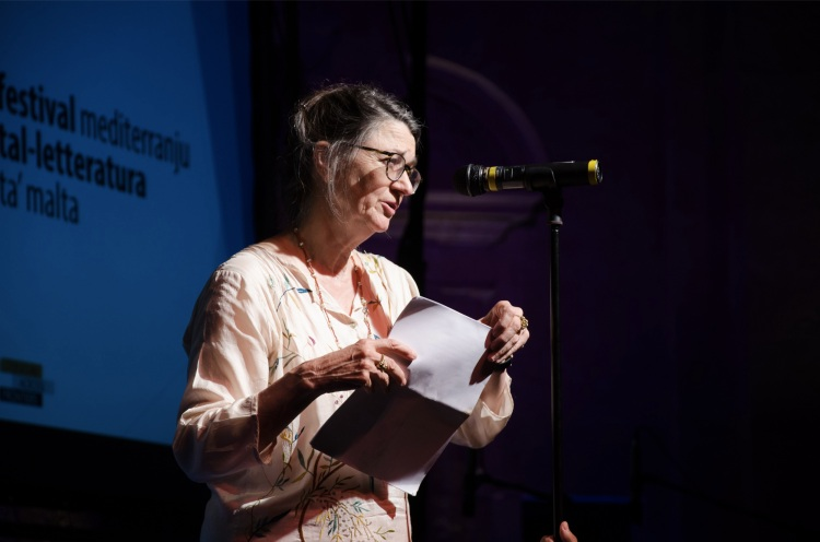 Marina Warner reads from 'Fly Away Home'. Valletta, 29 August 2015. Photo by Virginia Monteforte