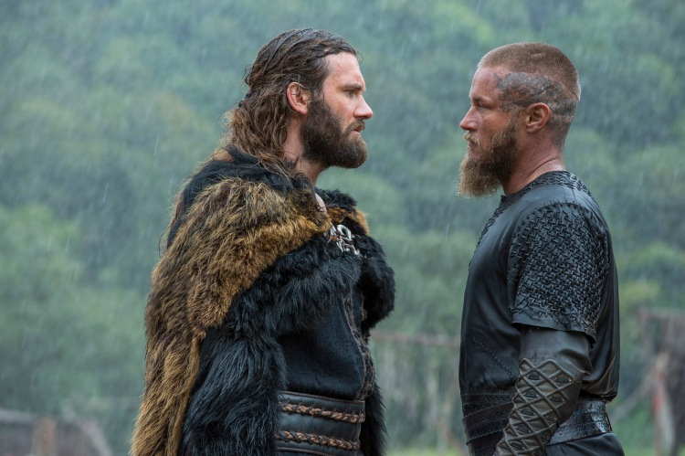 Clive Standen as Rollo and Travis Fimmel as Ragnar in The History Channel series Vikings