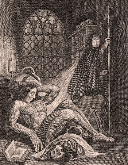 Frontispiece for the 1831 edition of Frankenstein by Mary Shelley. Illustrated by Theodore Von Holst (Steel engraving; 993 x 71mm)