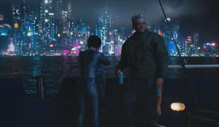 Scarlett Johansson and Pilou Asbaek in Ghost in the Shell (2017), dir. Rupert Sanders